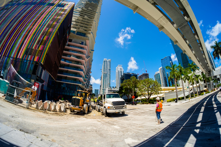 fish eye: Miami, Fl USA - June 22, 2016: Fish eye view of a construction project underway in the popular Brickell area in downtown Miami.