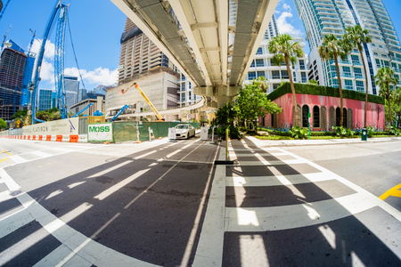 flatiron: Miami, Fl USA - June 22, 2016: Fish eye view of the Flatiron construction project underway in the popular Brickell area in downtown Miami.