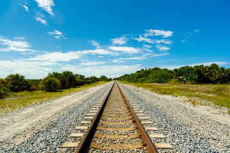 railroad track: Long railroad track in Port Saint Lucie in Florida.