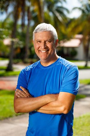 middle age man: Handsome unshaven middle age man outdoor portrait.