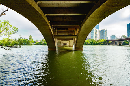 Underneath the Lamar Street Bridge over the Colorado River in downtown Austin, Texas.