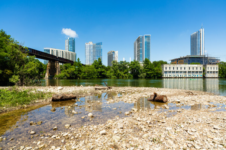colorado river: Skyline view of downtown Austin, Texas from the bank of the Colorado River.