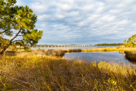 helen: Beautiful Philips Inlet in the North Florida panhandle area near Panama City with the highway 98 bridge in the background. Stock Photo