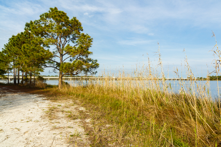 Beautiful Philips Inlet in the North Florida panhandle area near Panama City with the highway 98 bridge in the background. Stock Photo