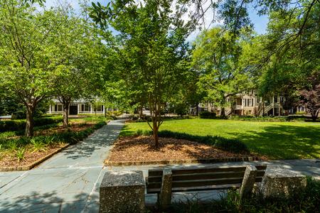 historic district: Washington Square Park in the historic district of Savannah, Georgia.
