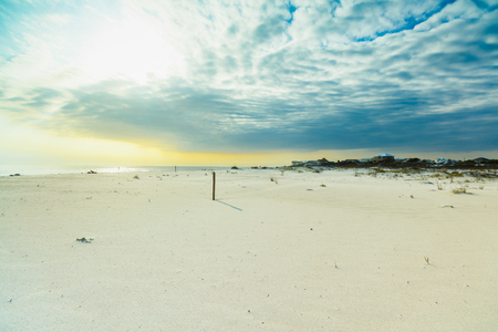 Beautiful white powder sand beach in the Florida panhandle in the late afternoon. Stock Photo