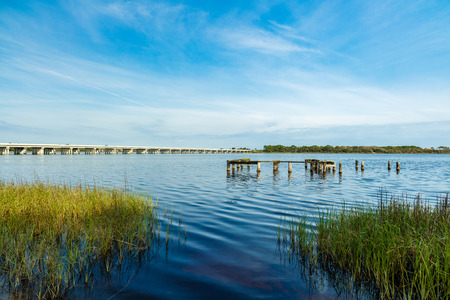 philips: Beautiful Philips Inlet in the North Florida panhandle area near Panama City with the highway 98 bridge in the background. Stock Photo