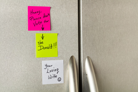 satirical: Satirical sticky notes on a home refrigerator about the United States presidential election. Editorial