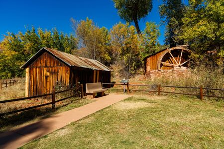 water mill: Beautiful vintage rustic barn with a water mill. Editorial