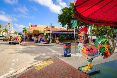 Miami, FL USA - December 18, 2016: Colorful artwork on display along the popular Calle Ocho in historic Little Havana.