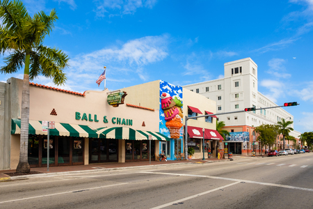 Miami, FL USA - December 18, 2016: Little Havana is a popular tourist destination in the historic Eight Street area with colorful store fronts. Editorial