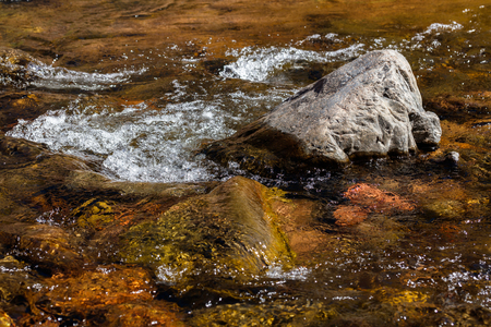 Fresh water flowing over rocks on a valley creek.