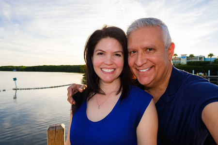 middle age couple: Happy middle age couple selfie enjoying the outdoors in the Florida Keys.
