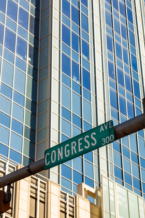 street sign: Austin, Texas cityscape with Congress Avenue street sign in the historic district. Stock Photo