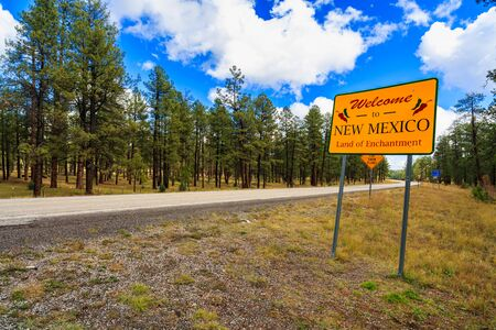 Welcome to New Mexico sign along the roadside.