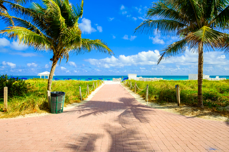promenade: Scenic promenade along a nature preserve in beautiful Miami Beach. Stock Photo