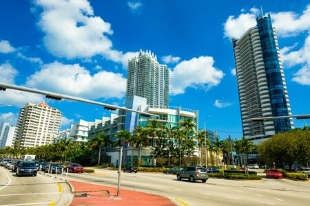 indian creek: Miami Beach, FL USA - February 13, 2017: Busy intersection on Indian Creek Drive and 63rd Street in the North Beach area.