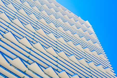 modern architecture: Miami, FL USA - February 14, 2017: The beautiful modern architecture of the luxury SLS Brickell Hotel in the popular downtown Brickell area. Editorial