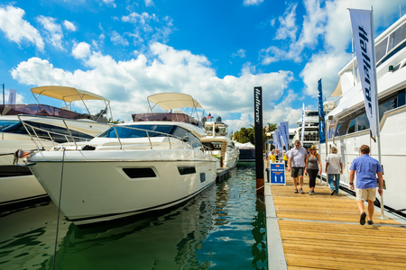 hatteras: Miami Beach, Fl USA - February 17, 2017: The popular Miami International Boat Show features more than 3,000 boats and 2,000 exhibitors from all over the globe.
