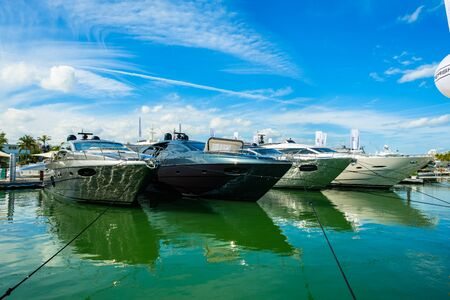 pershing: Miami Beach, Fl USA - February 17, 2017: The popular Miami International Boat Show features more than 3,000 boats and 2,000 exhibitors from all over the globe.