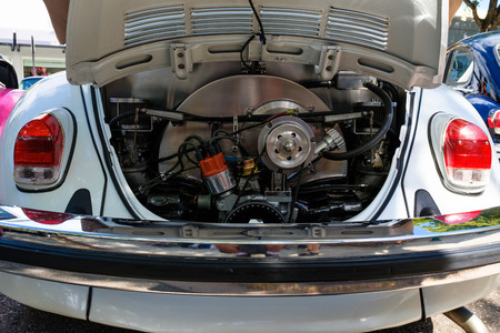 motor cars: Miami, FL USA - February 12, 2017: Close up view of the engine compartment of a vintage Volkswagen Beetle automobile.