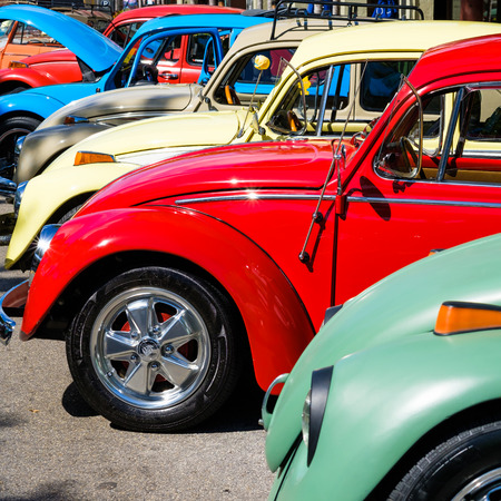 Miami, FL USA - February 12, 2017: Vintage Volkswagen beetle automobiles lined up side by side.