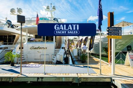 galati: Miami Beach, Fl USA - February 17, 2017: The popular Miami International Boat Show features more than 3,000 boats and 2,000 exhibitors from all over the globe.