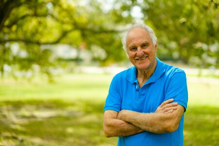 happy senior: Elderly handsome man outdoor portrait.