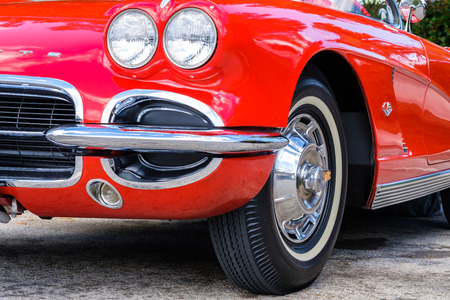 chevrolet: Miami, Florida USA - March 5, 2017: Close up view of a beautifully restored 1962 Chevrolet Corvette roadster at a public car show. Editorial