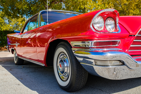 Miami, Florida USA - March 5, 2017: Close up view of a beautifully restored 1959 Chrysler 300E at a public car show. Editorial