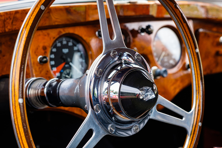 Miami, FL USA - March 12, 2017: Close up view of the interior of a beautifully restored vintage 1951 British Jaguar XK120 convertible automobile at a public car show along Palmetto Bay in Miami.