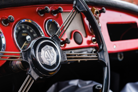 Miami, FL USA - March 12, 2017: Close up view of the interior of a beautifully restored vintage 1957 British MG roadster automobile at a public car show along Palmetto Bay in Miami.