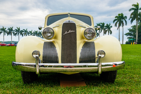 Miami, FL USA - March 12, 2017: Close up view of a beautifully restored vintage 1939 Lasalle automobile at a public car show along Palmetto Bay in Miami. Redakční