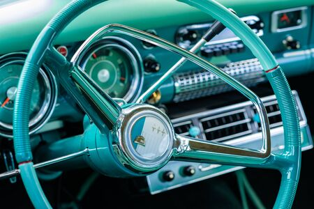 Miami, FL USA - March 12, 2017: Close up view of the interior of a beautifully restored vintage 1955 Studebaker Commander automobile at a public car show along Palmetto Bay in Miami.