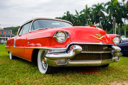 Miami, FL USA - March 12, 2017: Close up view of a beautifully restored vintage 1956 Cadillac Series 62 convertible automobile at a public car show along Palmetto Bay in Miami. Editorial
