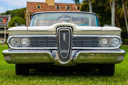 Miami, FL USA - March 12, 2017: Close up view of the front end of a beautifully restored vintage 1959 Edsel Corvair CV automobile at a public car show along Palmetto Bay in Miami.