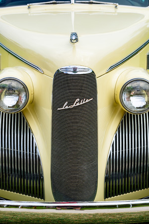 Miami, FL USA - March 12, 2017: Close up view of the front end of a beautifully restored vintage 1939 Lasalle automobile at a public car show along Palmetto Bay in Miami.