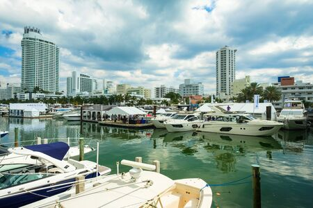 Miami Beach, Fl USA - February 17, 2017: The popular Miami International Boat Show features more than 3,000 boats and 2,000 exhibitors from all over the globe.