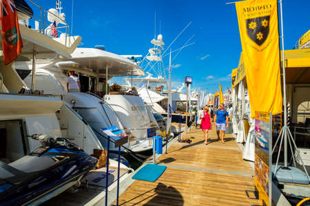than: Miami Beach, Fl USA - February 17, 2017: The popular Miami International Boat Show features more than 3,000 boats and 2,000 exhibitors from all over the globe.