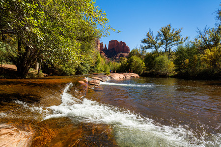 Sedona, AZ USA - October 18, 2016: Cathedral Rock in the Coconino National Forest with its natural sandstone rock formations is a popular tourist destination.