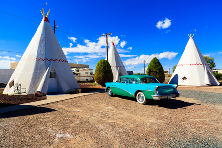 Holbrook, AZ USA - October 29, 2016: The Wigwam Motel with its tipee style rooms and vintage cars is a popular tourist destination in this small desert town near the Petrified Forest. Editorial