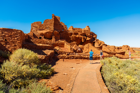 Flagstaff, AZ USA - October 15, 2016: The Wupatki National Monument with its native american ruins is a popular tourist destination.