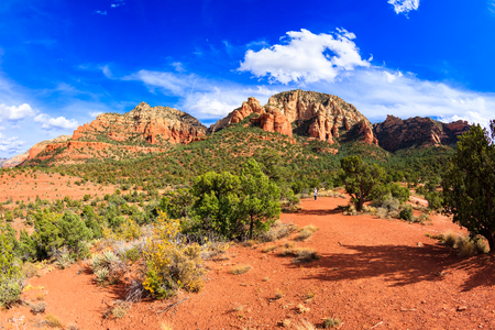 blue fish: Fisheye view of the natural beauty of the Arizona desert in Sedona with majestic sandstone buttes. Stock Photo