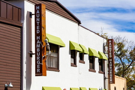 Jerome, AZ USA - October 16, 2016: The Haunted Hamburger restaurant is a popular tourist destination in this trendy small mountain town overlooking the Verde Valley. Editorial