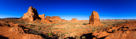 Utah, USA - November 4, 2016: Panoramic view of beautiful Arches National Park with over 2,000 natural sandstone arches and numerous hiking trails near Moab.
