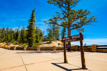 sign: Natural Bridge sign in the beautiful Bryce Canyon National Park in Utah. Stock Photo