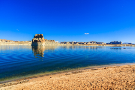 The natural beauty of Lone Rock Canyon and Lake Powell in Utah. Stock Photo