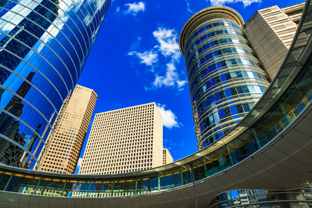 Skyward view of modern downtown skyscrapers. Stock Photo