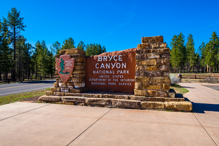 Bryce Canyon, Utah USA - April 22, 2017: Entrance sign to the beautiful Bryce Canyon National Park known for its natural rock formations called hoodoos.
