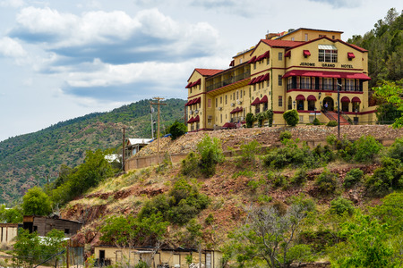 Jerome, Arizona USA - April 27, 2017: Cityscape view of the Jerome Grand Hotel, famously known for its haunted ghosts, in this popular small mountain town located in Yavapai County in the Verde Valley. Editorial